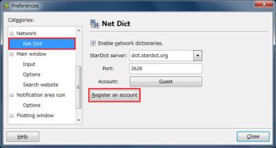 図9 Prefernces画面の左側で「Network」−「Net Dict」を選択し、画面右の「Register an account」ボタンをクリックする