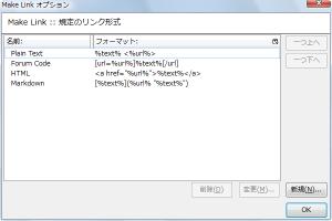 図4 Make Linkのオプション設定。デフォルトで用意された書式も削除・変更できる