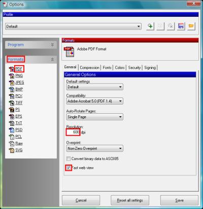 図16 PDFのGeneralタブでは解像度や互換性を設定できる