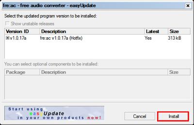 図7 「Install」をクリックしてダウンロードとアップデートを実行しよう