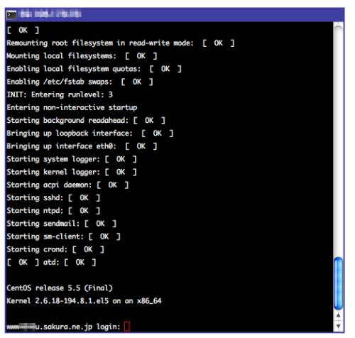 図4 OSのブートが完了するとログインプロンプトが表示される