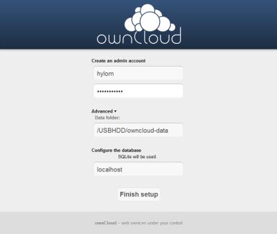 図4 ownCloudの初期設定画面