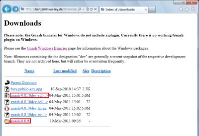 図13 Windows版Gnashの開発版か安定版をダウンロードする