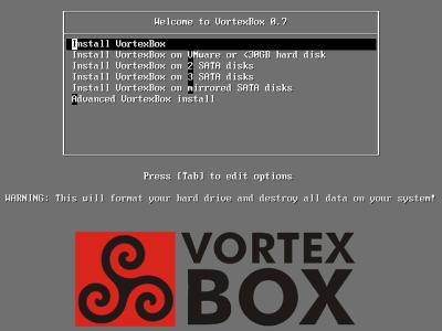 図1 VortexBoxインストールCDのブートメニュー