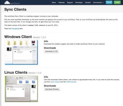 図10 WindowsおよびLinux、Mac OS Xで利用できる同期クライアントも用意されている
