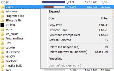 図8 フォルダ一覧リストのショートカットメニューでは、「Open」(エクスプローラでそのフォルダを開く)や「Copy Path」(パスをクリップボードにコピー)、「Delete(to Recycle Bin)」(ごみ箱に入れる)、「Delete(no way to undelete!)」(削除)といった操作が可能だ
